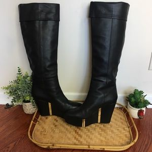 ALEXA WAGNER tall platform black leather boots